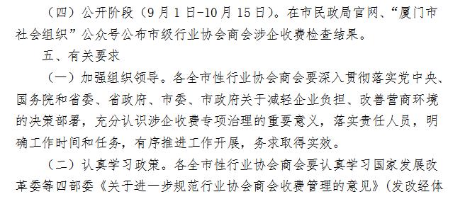 厦门市民政局 关于开展行业协会商会涉企收费专项治理的通知