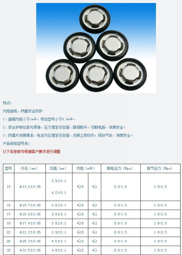 16倍率型鋰電池蓋帽