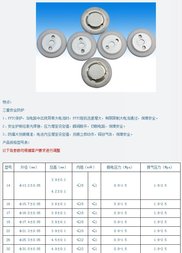 17容量型鋰電池蓋帽