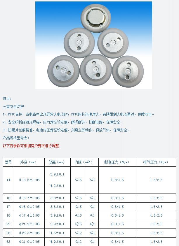 16容量型鋰電池蓋帽