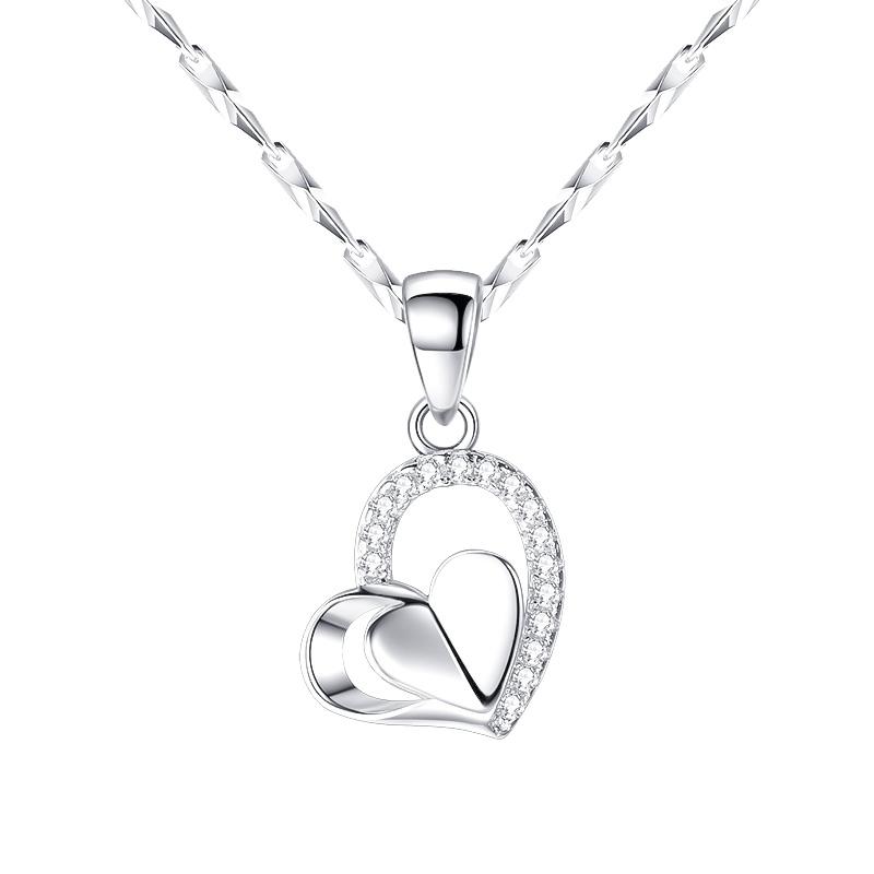 纯银项链女潮网红锁骨链首饰品送女友朋友老婆七夕情人节生日礼物