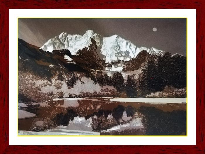 软裱套色风景剪纸
