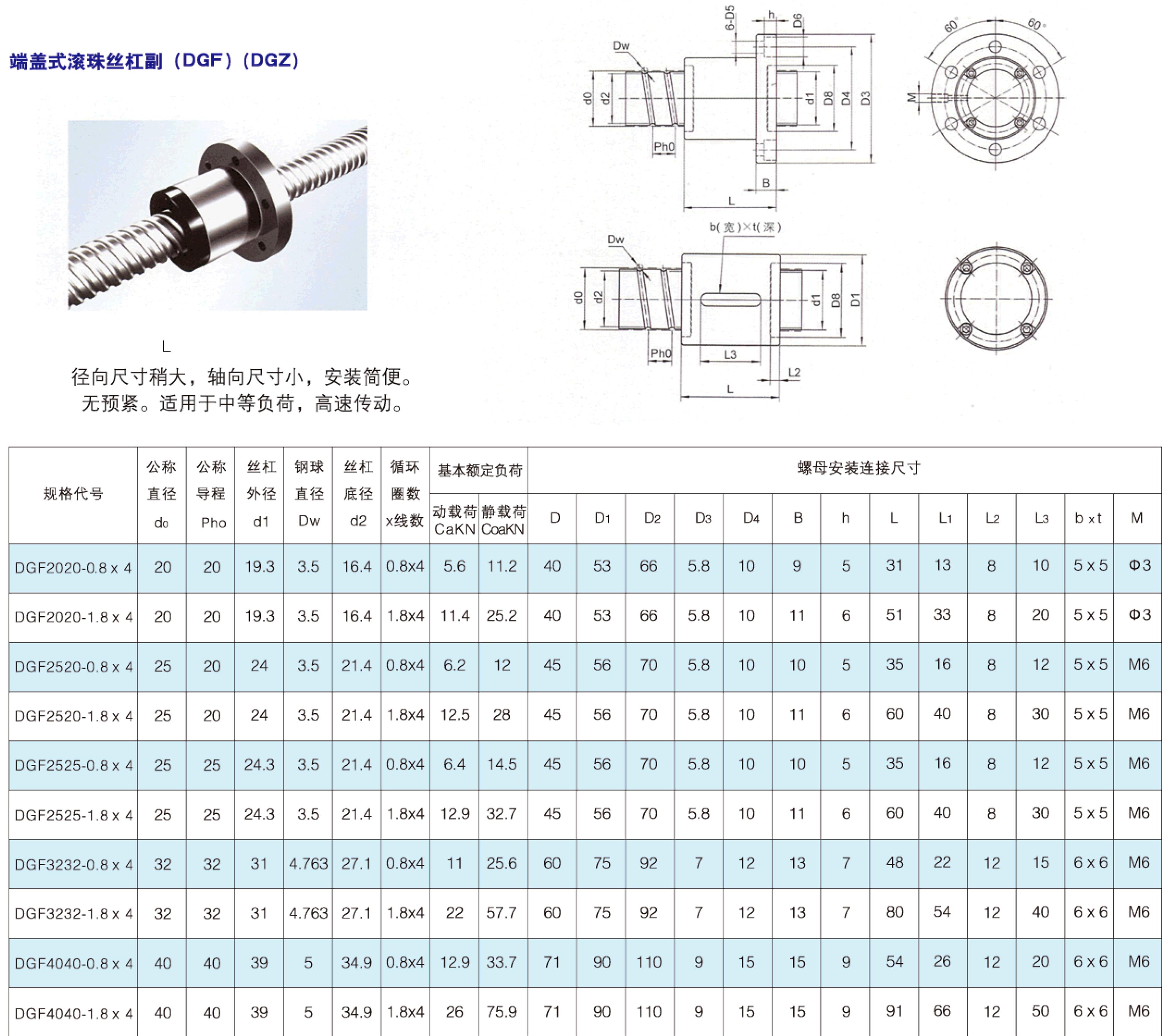 DGF內循環端蓋式滾珠絲杠
